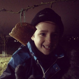 The boy hanging cider toast on an apple tree