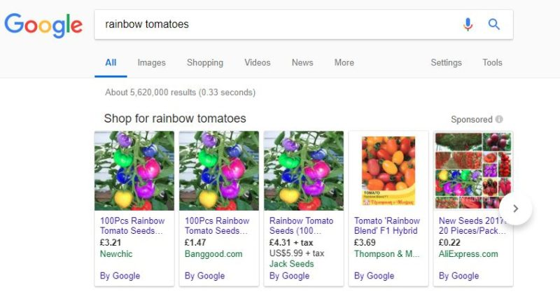 Fake rainbow tomato seeds